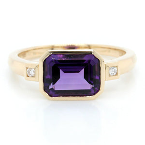 14K Yellow Gold Emerald Cut Amethyst Ring