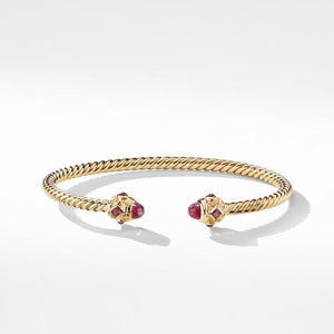 Renaissance Bracelet with Rubies in 18K Gold, 3.5mm