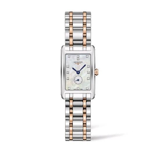 Dolcevita Stainless Steel and 18K Rose Gold Mother of Pearl Dial Watch