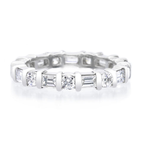 Platinum Alternating Round & Baquette Diamond Eternity Band