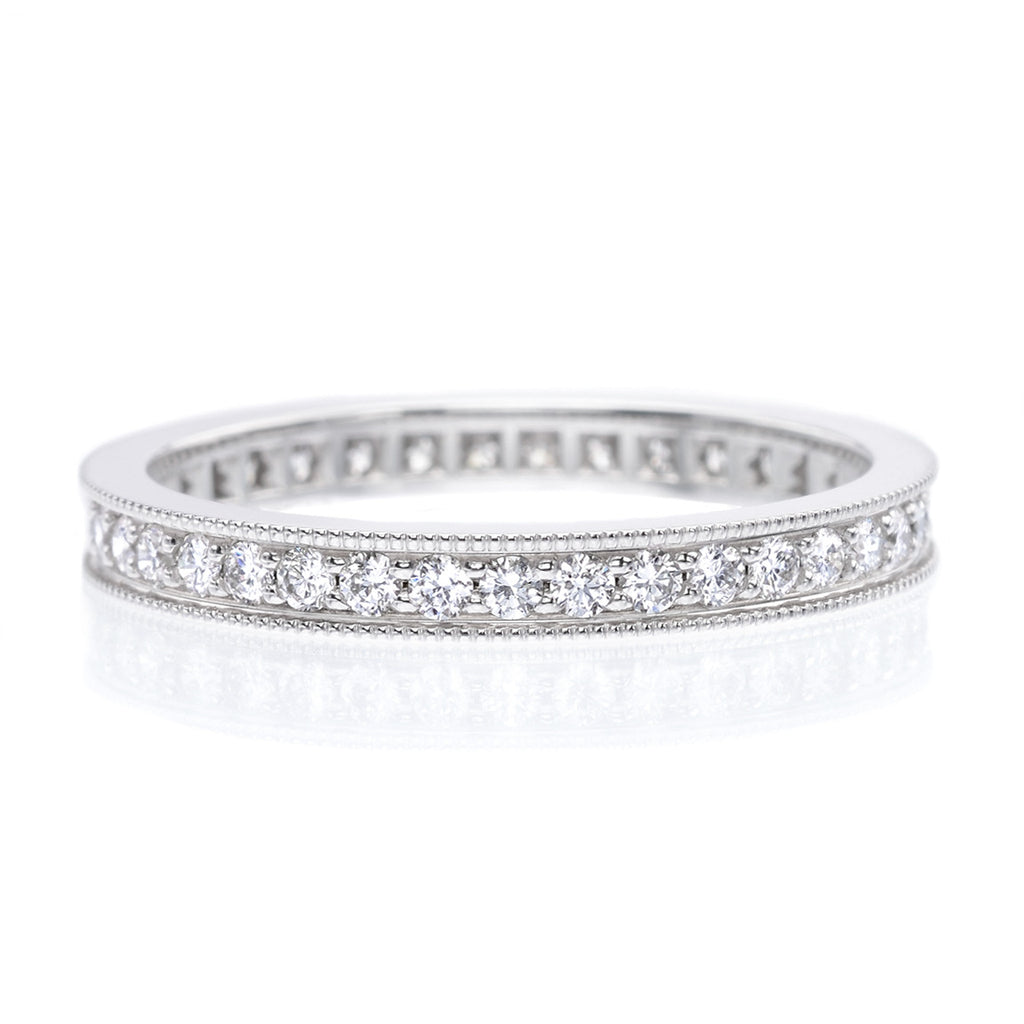 set round moissanite tgw carats white eternity brilliant band wedding in cut prong bands gold