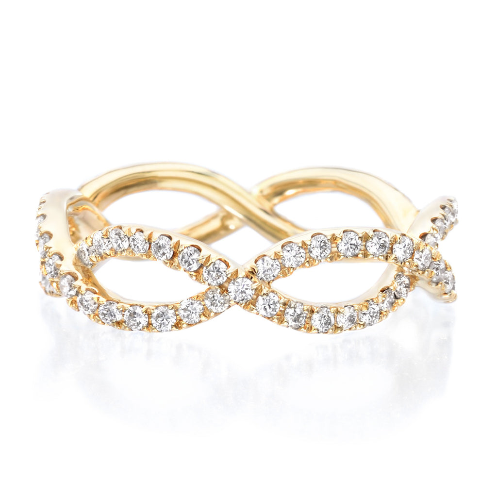 18K Yellow Gold Diamond Infinity Diamond Swirl Band