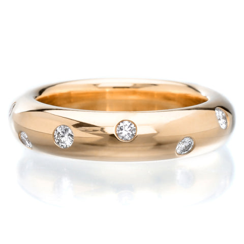 18K Yellow Gold Shared Prong Diamond Band