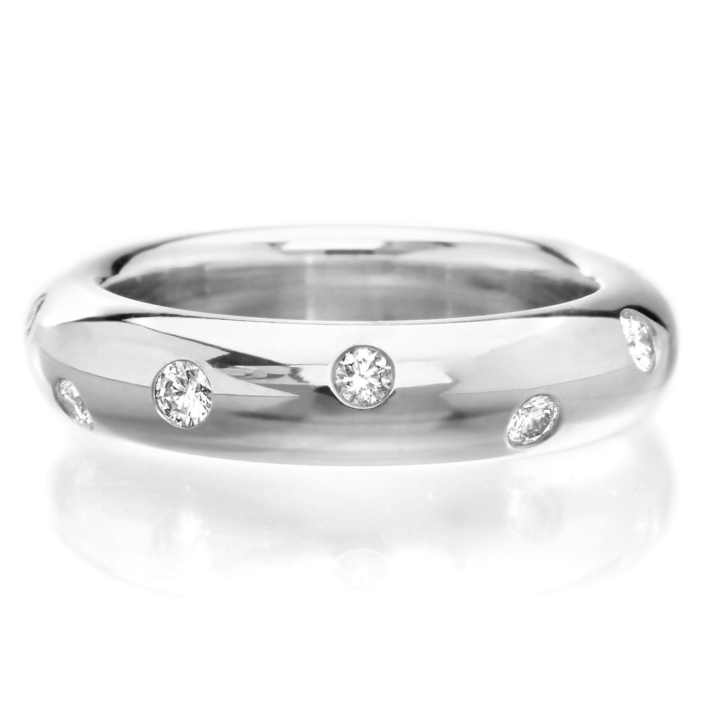 18K White Gold Stardust Diamond Stacking Band