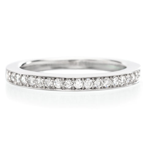 14K White Gold Bead Set Halfway Diamond Band