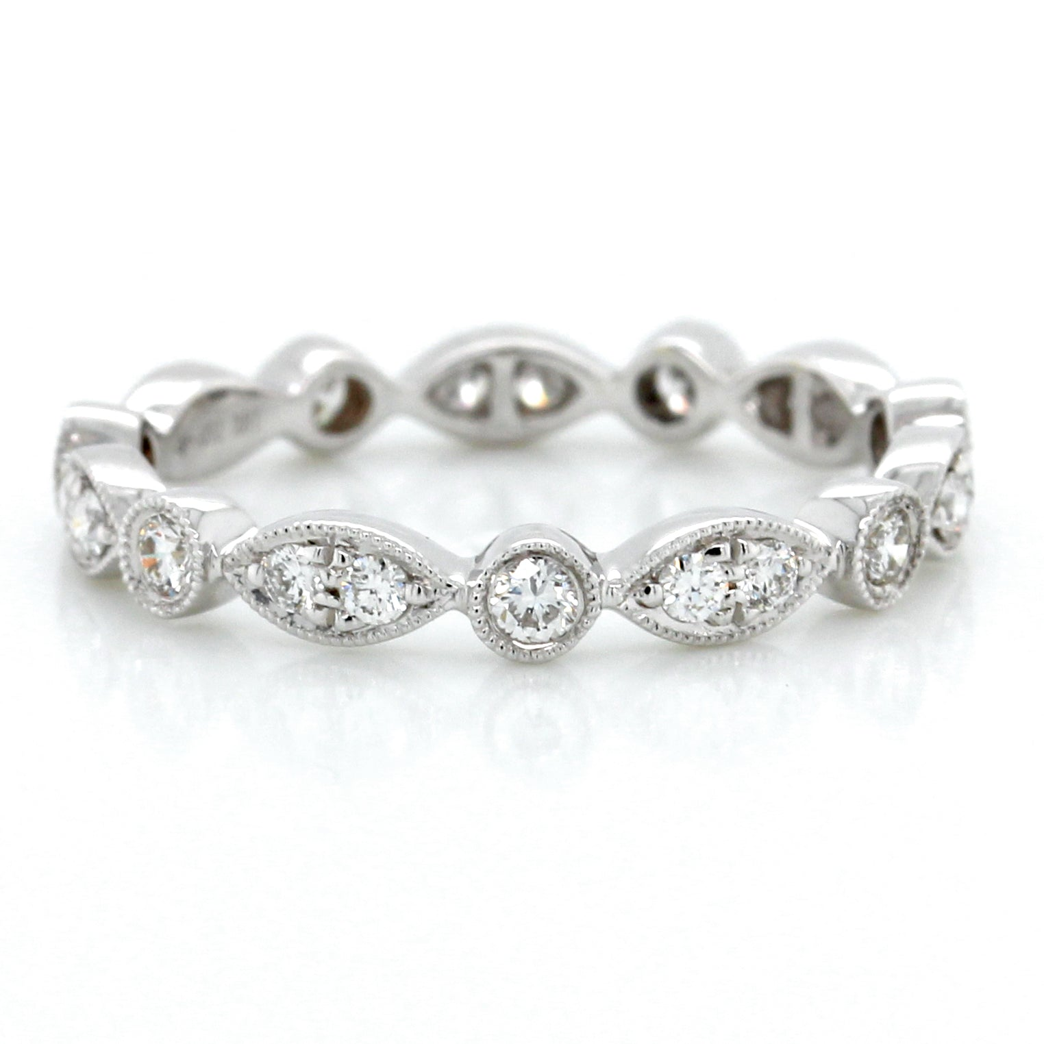 18K White Gold Marquise and Round Bezel Eternity Band