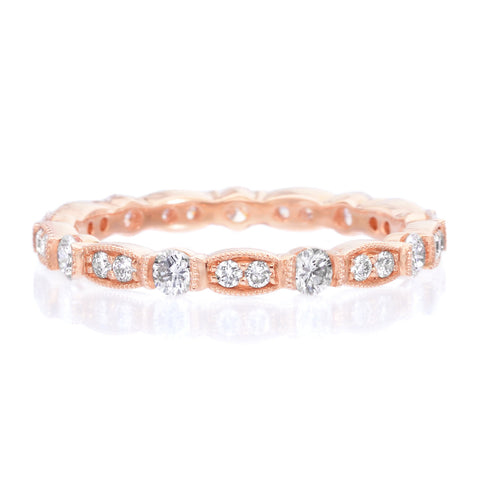 18K Rose Gold Bezel Set Diamond Eternity Band with Milgrain