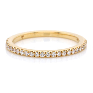 18K Yellow Gold Micro Pave Diamond Wedding Band