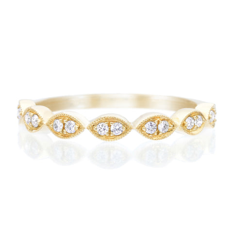 14K Yellow Gold Marquise Shape Pave Halfway Diamond Band