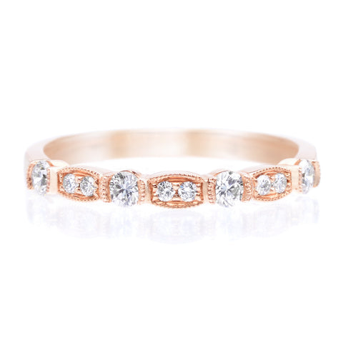 18K Rose Gold Bezel Set Halfway Diamond Band with Milgrain