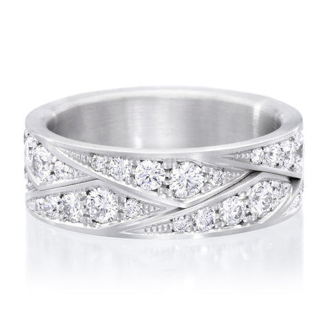 18K White Gold Flat Weave Diamond Band