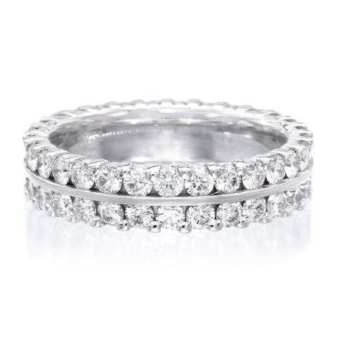18K White Gold Two Row 5mm Diamond Eternity Band