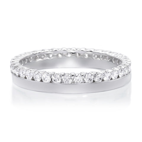 18K White Gold Polished Diamond Band