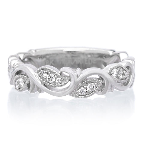 18K White Gold Diamond Filigree Band