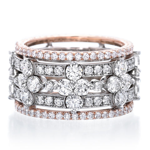Platinum & 18K Rose Gold Five Row Diamond Band