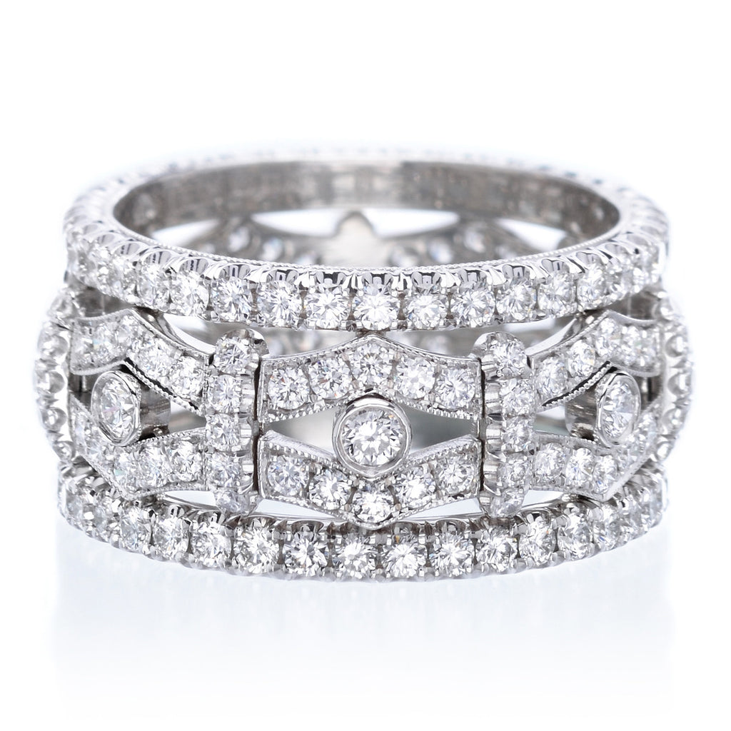 Platinum Wide Pave Diamond Band Long S Jewelers
