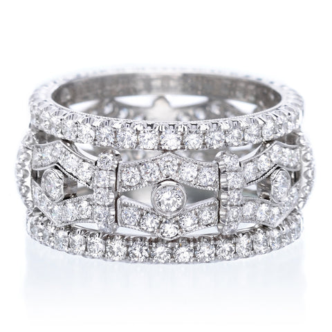 Platinum Wide Pavé Diamond Band