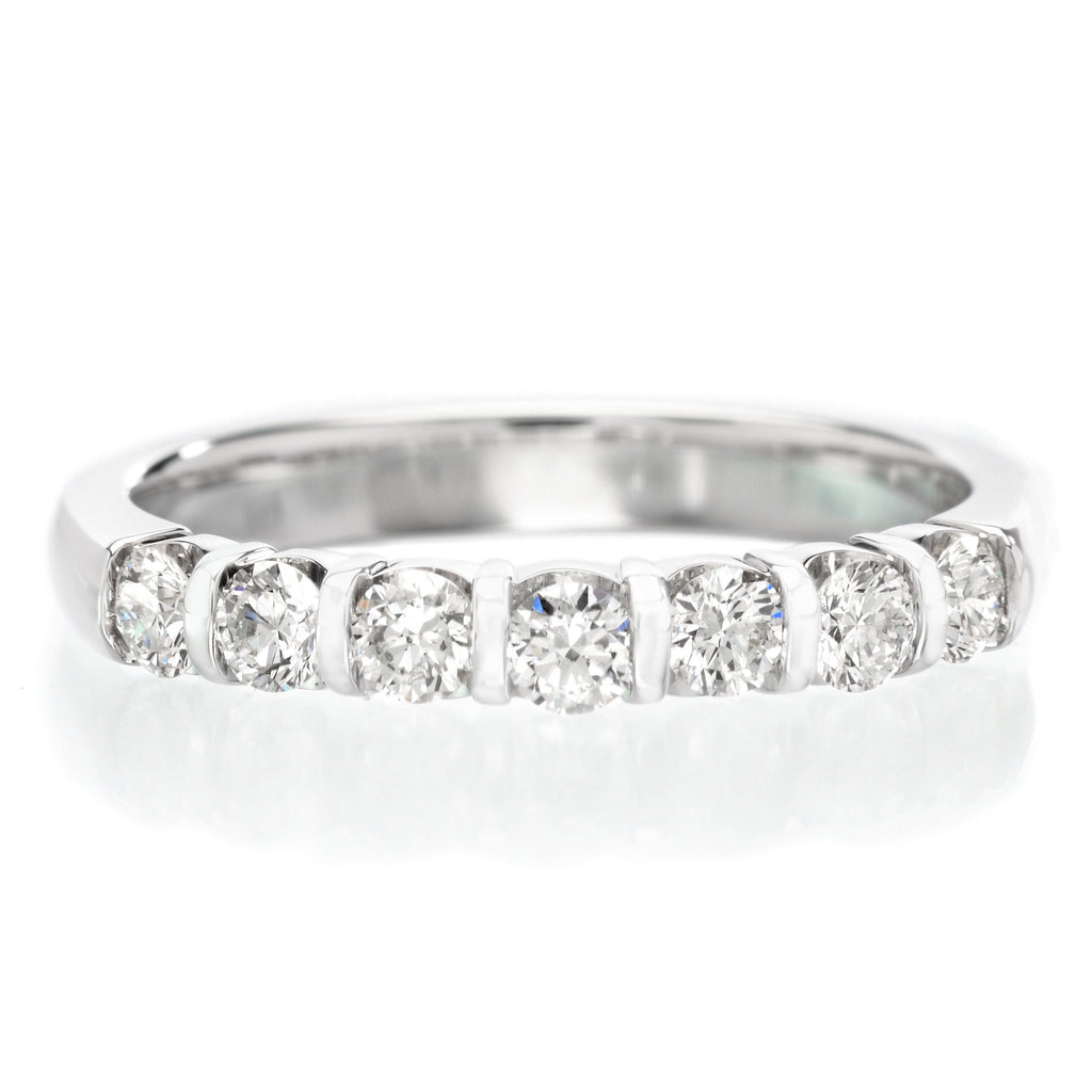 18K White Gold 7 Stone Bar Set Diamond Band