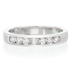 18K White Gold 7 Stone Channel Set Diamond Band .35ctw