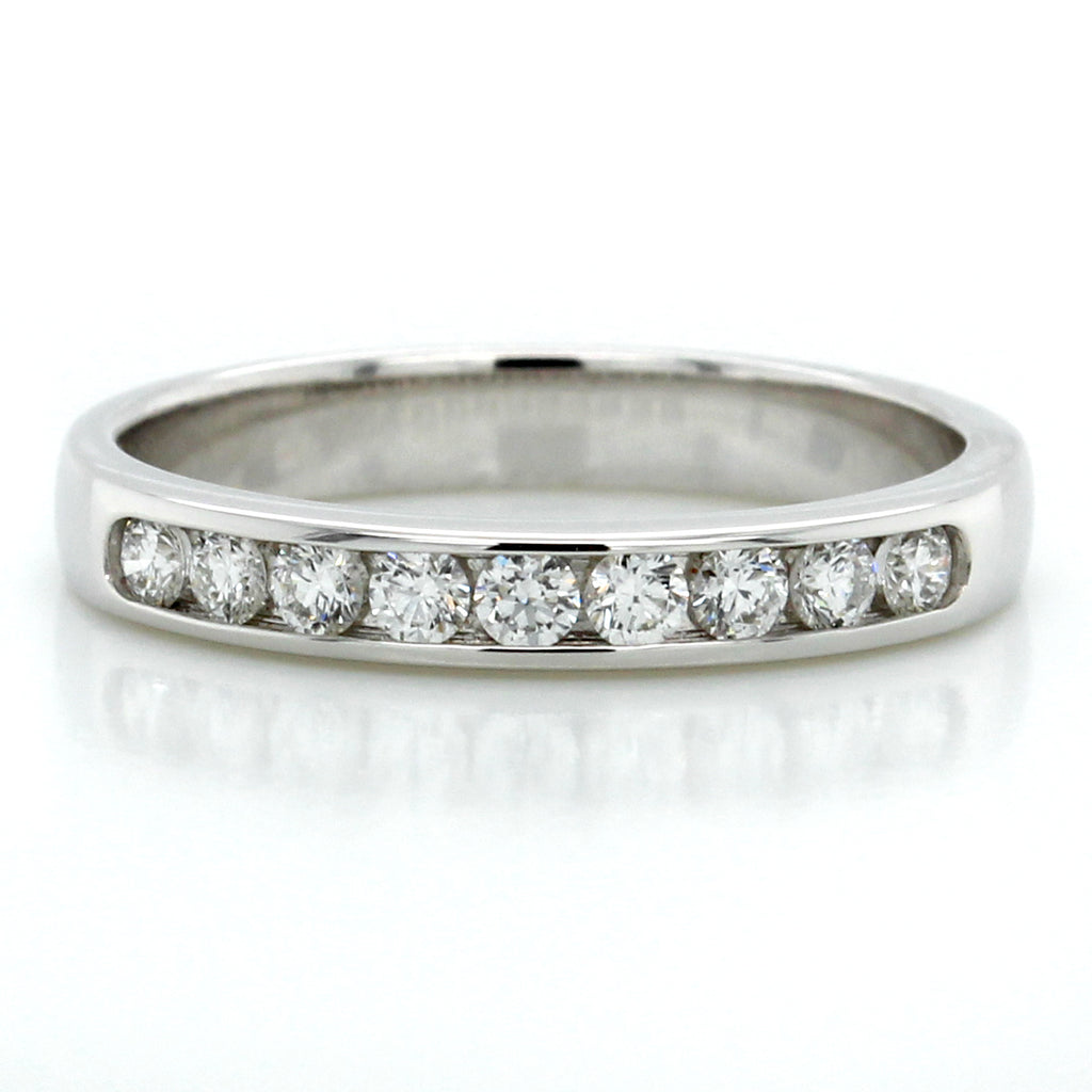 18K White Gold Nine-Stone Channel Set Band