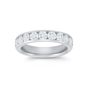 18K White Gold Channel Set Diamond Band