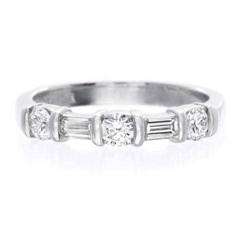 14K White Gold Round and Baguette Diamond Eternity Band