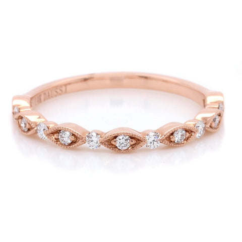 14K Rose Gold Pave Milgrain Band