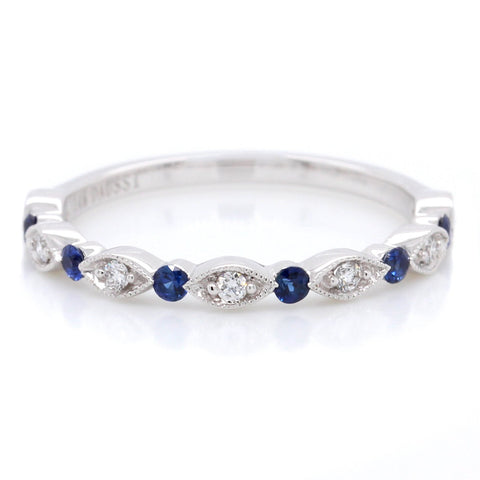14K White Gold Diamond and Sapphire Milgrain Band
