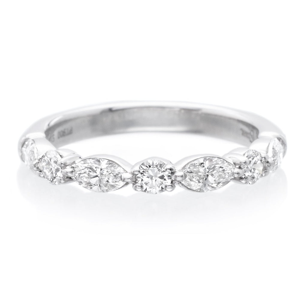 Platinum Marquise and Round Halfway Diamond Band