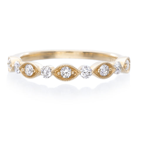 14K Yellow Gold Round and Marquise Diamond Wedding Band with Milgrain