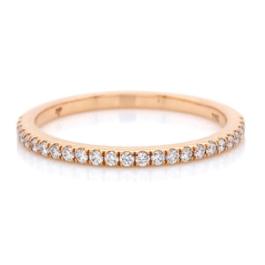 18K Rose Gold Micro Pave Diamond Wedding Band