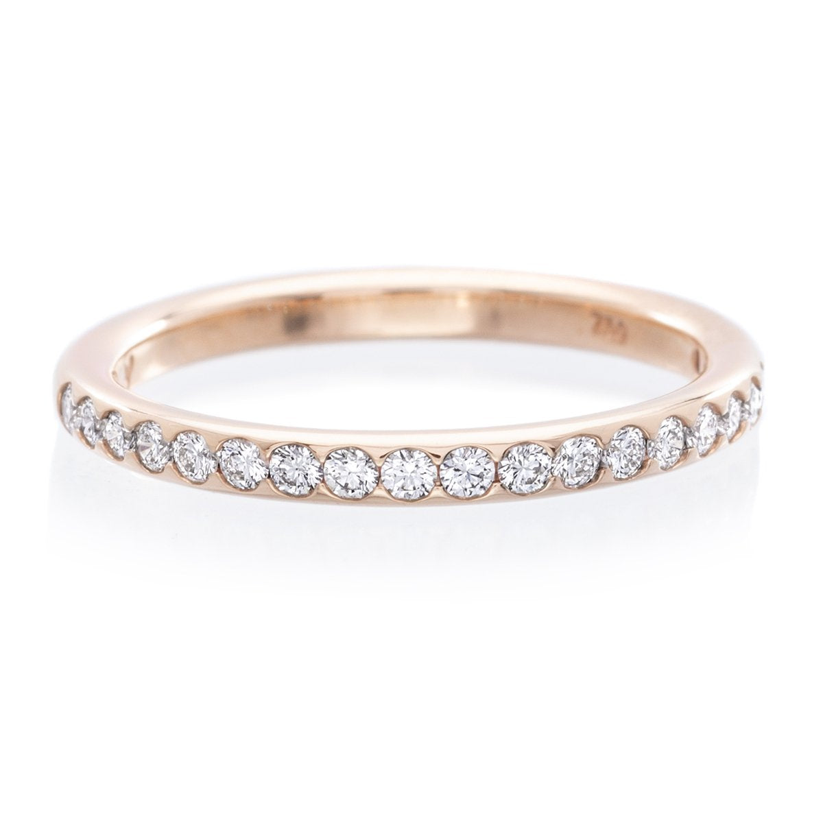 18K Rose Gold Shared Prong Diamond Wedding Band