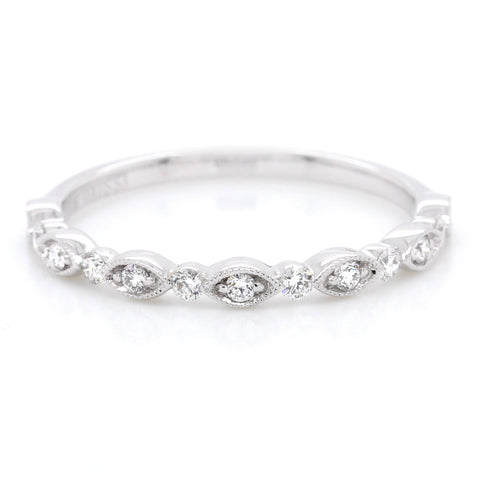14K White Gold Diamond Bead Set Band