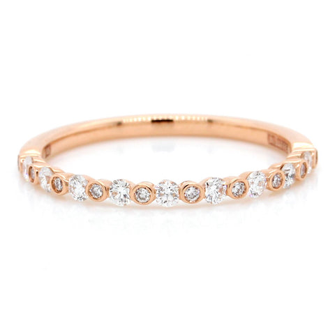 14K Rose Gold Diamond Bubble Band