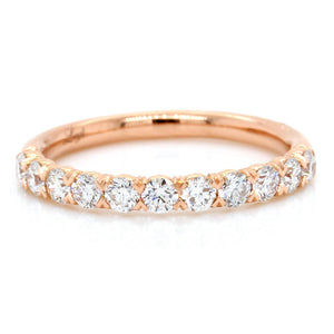 18K Rose Gold Flush Fit Prong Set Band