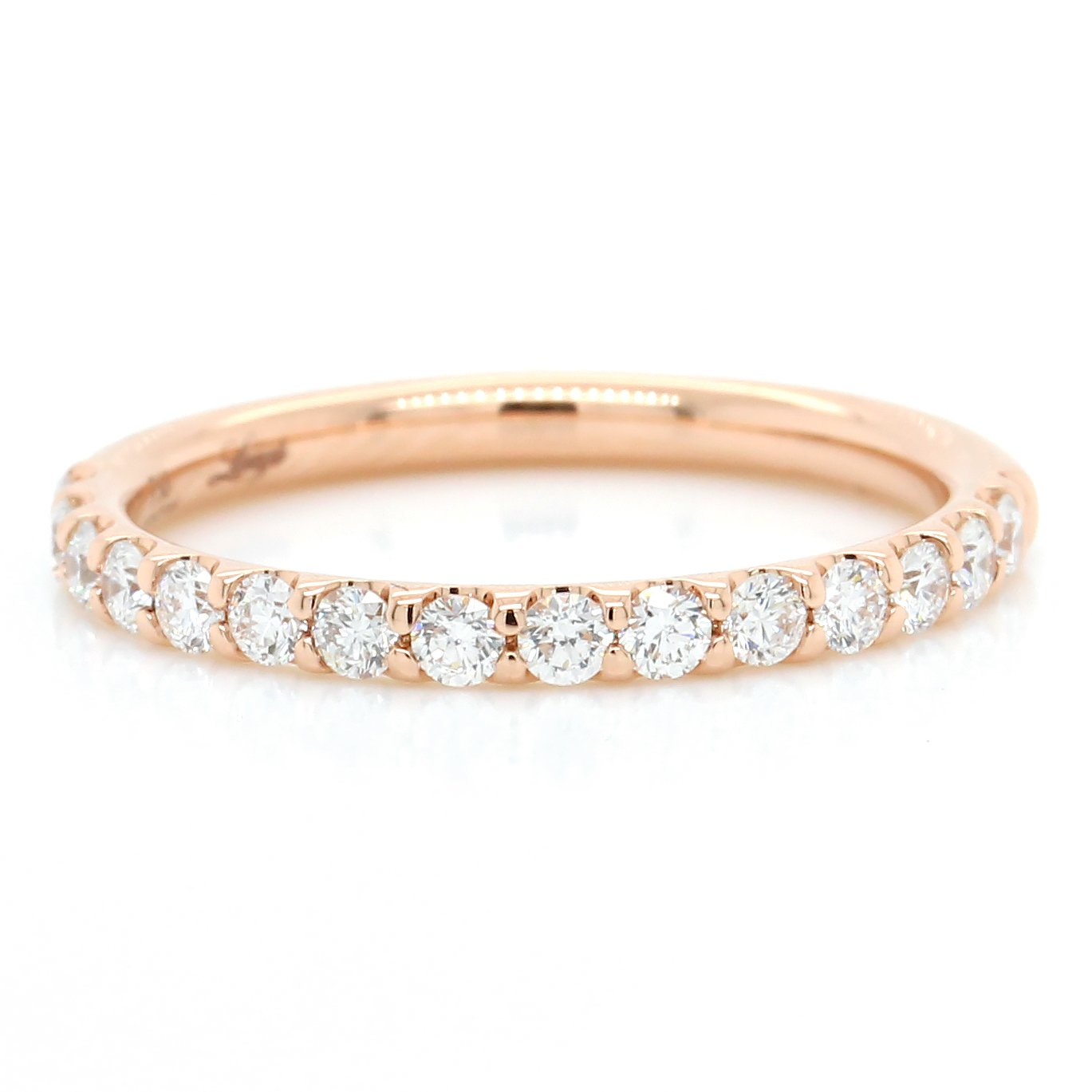 18K Rose Gold Prong Set Diamond Band