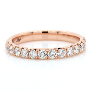 18K Rose Gold French Cut Diamond Band