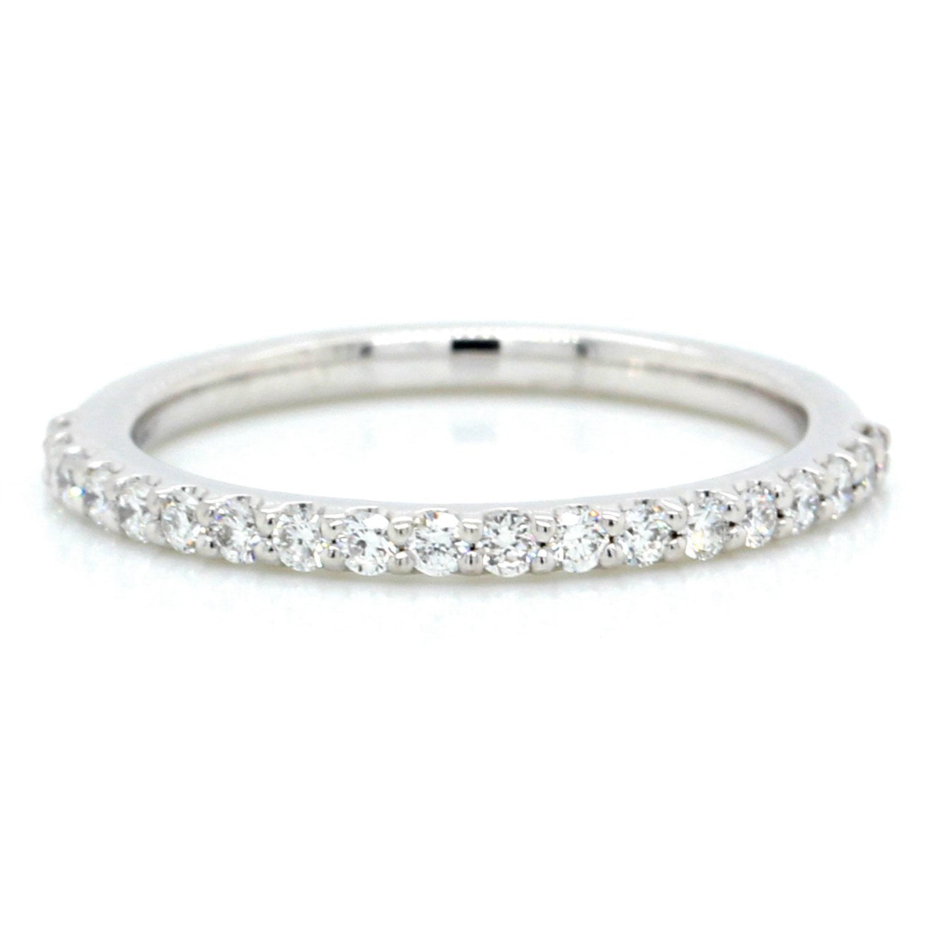 18K White Gold French Set Diamond Band