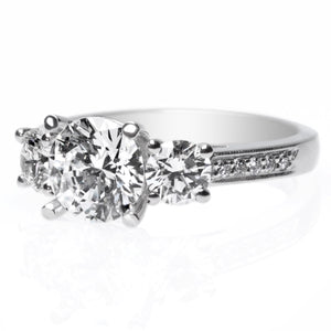 Platinum Three-Stone Channel Set Engagement Ring Setting