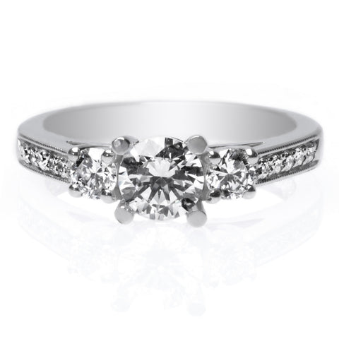 Platinum Three Stone Channel Set Diamond Engagement Ring