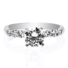 Platinum Tri-Split Shank Cushion Cut Halo Engagement Ring