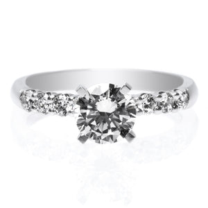 Platinum Solitaire Eight Stone Diamond Engagement Ring