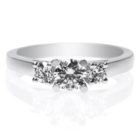18K White Gold Solitaire 4-Prong Diamond Beaded Band Engagement Ring with Surprise Diamonds