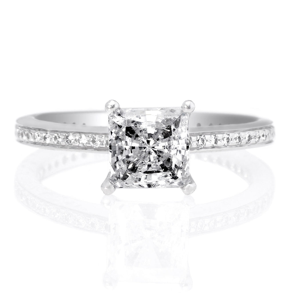 Platinum Diamond Micropavé Band Engagement Ring