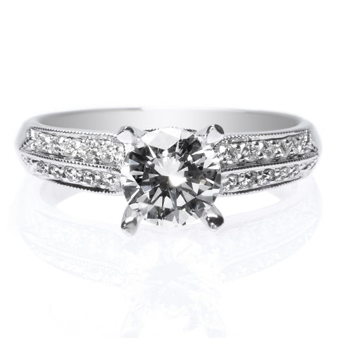 Platinum Knife Edge Pave Diamond Engagement Ring