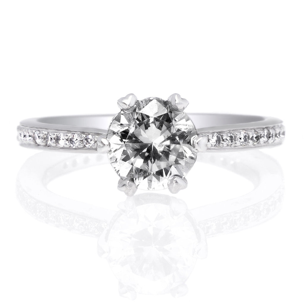 Platinum Solitaire Diamond Six-Prong Beadset Micropave Band Engagement Ring
