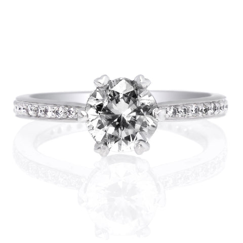 Platinum Solitaire Six-Prong Bead-Set Micro-Pave Engagement Ring
