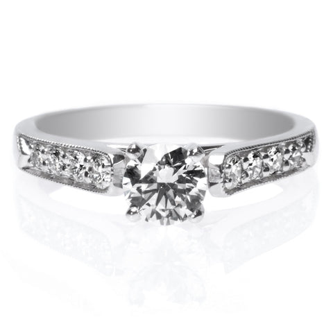 Platinum Tapered Pave Diamond Engagement Ring with Milgrain