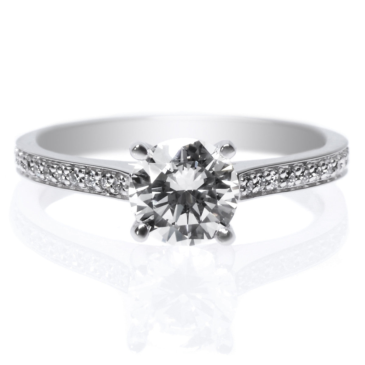 Platinum Four Prong Channel Set Diamond Engagement Ring
