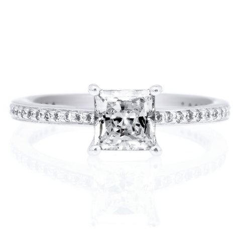 18K White Gold Classic Pave Round Brilliant Diamond Band Engagement Ring